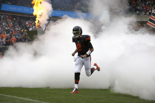 Chicago Bears quarterback Brian Hoyer (2) runs to the field as players are introduced before an NFL football game between the Chicago Bears and the Detroit Lions, Sunday, Oct. 2, 2016, in Chicago. (AP Photo/Nam Y. Huh) ORG XMIT: CXB1
