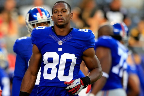 EAST RUTHERFORD, NJ - AUGUST 09: Wide receiver Victor Cruz #80 of the New York Giants looks on prior to a preseason game against the Pittsburgh Steelers at MetLife Stadium on August 9, 2014 in East Rutherford, New Jersey. (Photo by Alex Trautwig/Getty Images)