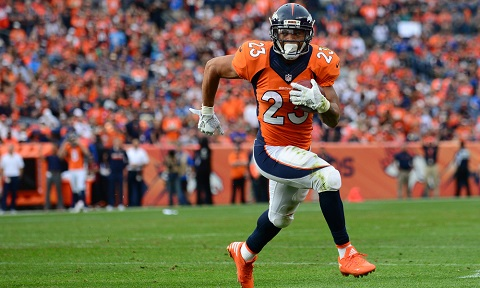 DENVER, CO - OCTOBER 30: Running back Devontae Booker #23 of the Denver Broncos rushes for a touchdown in the third quarter of the game against the San Diego Chargers at Sports Authority Field at Mile High on October 30, 2016 in Denver, Colorado. (Photo by Dustin Bradford/Getty Images)